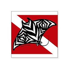 """hawaiian manta dive.jpg Square Sticker 3"""" x 3"""""""