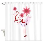 Pink Spring Bird Trans.png Shower Curtain