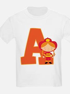 Letter A Firefighter Monogram T-Shirt