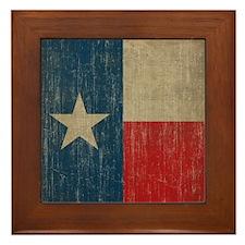 Vintage Texas Flag Framed Tile