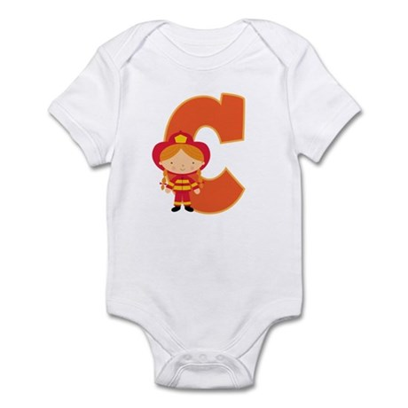 Letter C Firefighter Monogram Infant Bodysuit