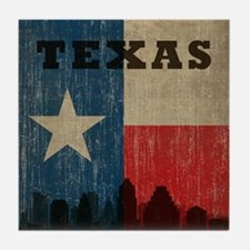 Vintage Texas Skyline Tile Coaster