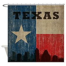 Vintage Texas Skyline Shower Curtain