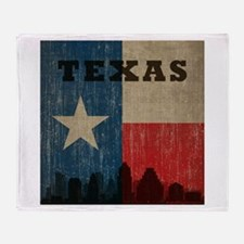 Vintage Texas Skyline Throw Blanket