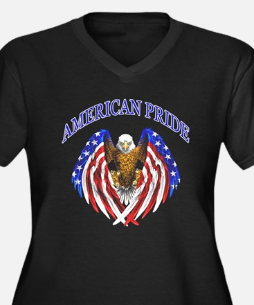 American Pride Eagle Women's Plus Size V-Neck Dark