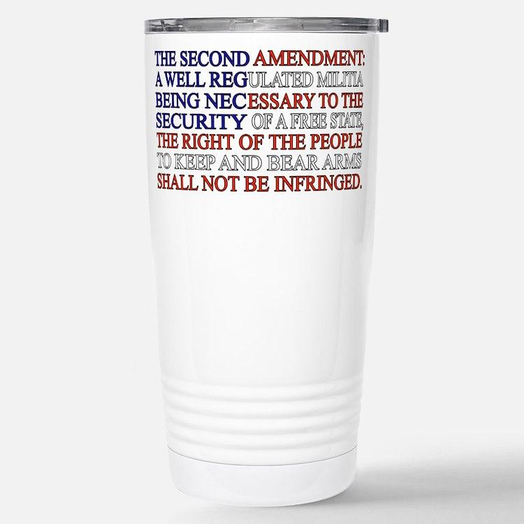 Second Amendment Flag Stainless Steel Travel Mug