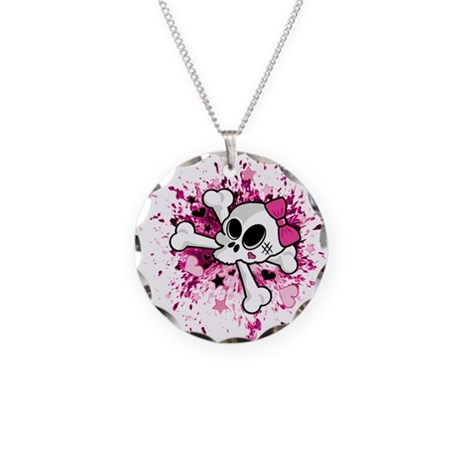 Girlie Skull Necklace Circle Charm