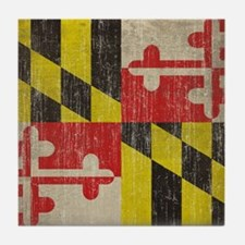 Vintage Maryland Flag Tile Coaster