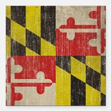 """Vintage Maryland Flag Square Car Magnet 3"""" x 3"""""""