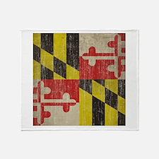 Vintage Maryland Flag Throw Blanket