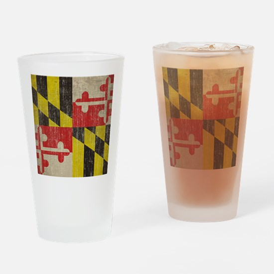 Vintage Maryland Flag Drinking Glass