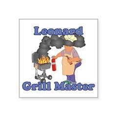 Grill Master Leonard Square Sticker 3
