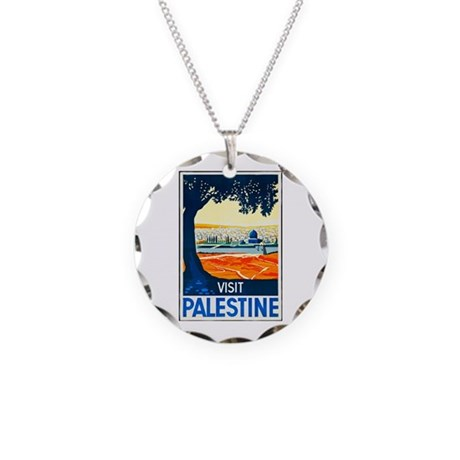 Palestine Travel Poster 1 Necklace Circle Charm