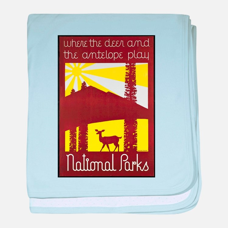 National Parks Travel Poster 3 baby blanket
