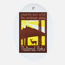 National Parks Travel Poster 3 Ornament (Oval)