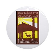 National Parks Travel Poster 3 Ornament (Round)