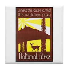 National Parks Travel Poster 3 Tile Coaster