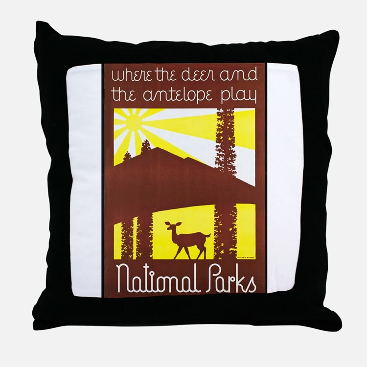 National Parks Travel Poster 3 Throw Pillow