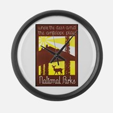 National Parks Travel Poster 3 Large Wall Clock