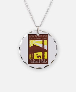 National Parks Travel Poster 3 Necklace