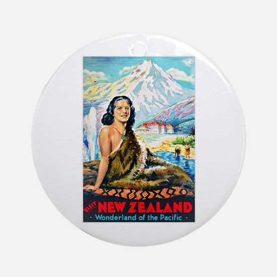 New Zealand Travel Poster 2 Ornament (Round)