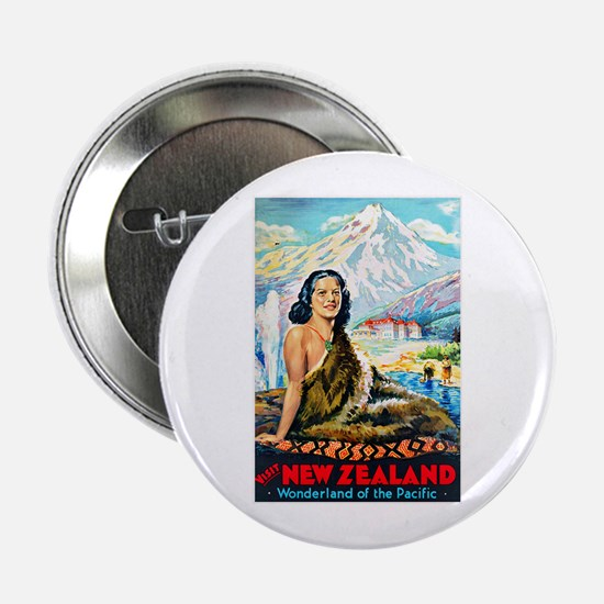 """New Zealand Travel Poster 2 2.25"""" Button"""