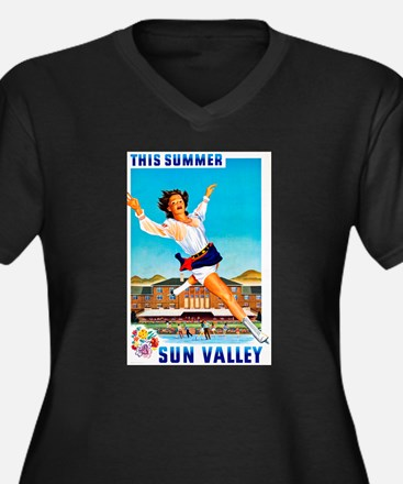 Sun Valley Travel Poster 1 Women's Plus Size V-Nec