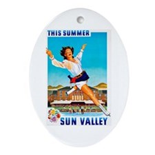 Sun Valley Travel Poster 1 Ornament (Oval)