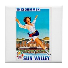 Sun Valley Travel Poster 1 Tile Coaster