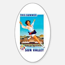 Sun Valley Travel Poster 1 Sticker (Oval)