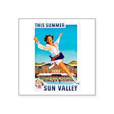 "Sun Valley Travel Poster 1 Square Sticker 3"" x 3"""