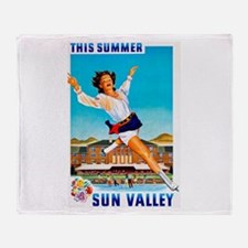 Sun Valley Travel Poster 1 Throw Blanket