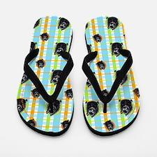 Schipperke Pretty Plaid Flip Flops