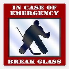 "Emergency Hockey Goalie Square Car Magnet 3"""