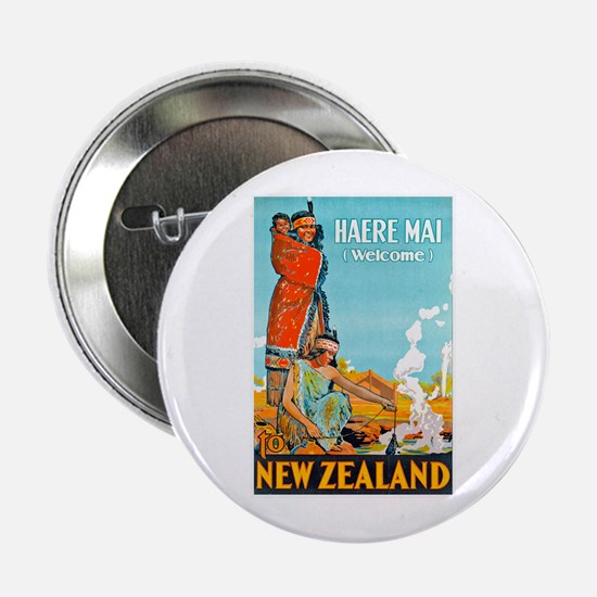 """New Zealand Travel Poster 3 2.25"""" Button"""