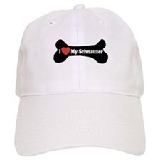 I Love My Schnauzer - Dog Bone Baseball Cap