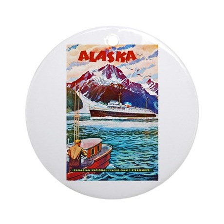 Alaska Travel Poster 1 Ornament (Round)