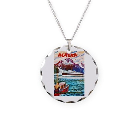 Alaska Travel Poster 1 Necklace Circle Charm