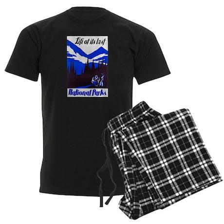 National Parks Travel Poster 4 Men's Dark Pajamas