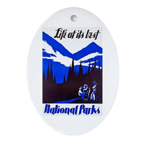 National Parks Travel Poster 4 Ornament (Oval)