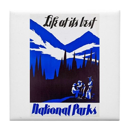 National Parks Travel Poster 4 Tile Coaster