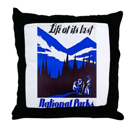 National Parks Travel Poster 4 Throw Pillow