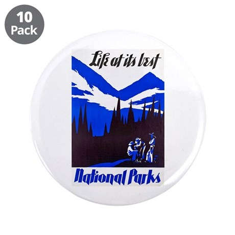 """National Parks Travel Poster 4 3.5"""" Button (10 pac"""