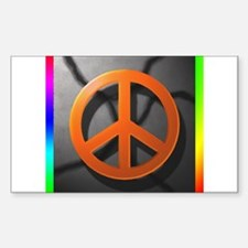 Peace Sign on Concrete Rectangle Decal