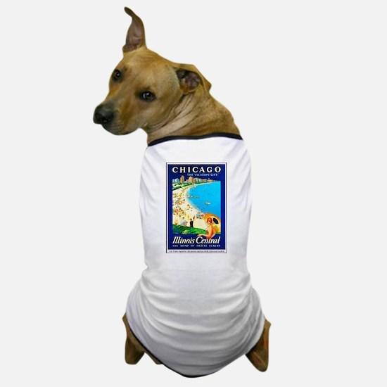 Chicago Travel Poster 1 Dog T-Shirt