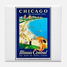 Chicago Travel Poster 1 Tile Coaster