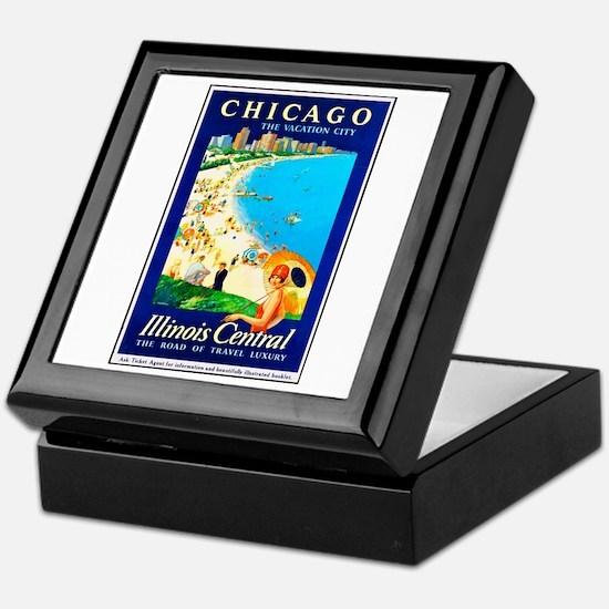 Chicago Travel Poster 1 Keepsake Box