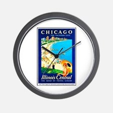 Chicago Travel Poster 1 Wall Clock