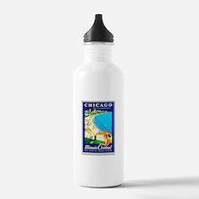 Chicago Travel Poster 1 Water Bottle