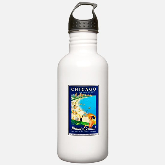 Chicago Travel Poster 1 Water Bottle